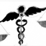 Medical Symbol of snakes wrapped around scale.